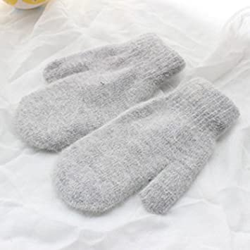 Winter Women Gloves WDDH Double Warm Plush Gloves, Solid Color Mittens Cold Weather Gloves (Light gray) JSW163PBY5OA25WGC16GU