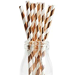 Andaz Press Rose Gold Copper Foil Striped Straws, 50-Pack, Shiny Metallic Champagne Colored Anniversary Wedding Birthday Baby Shower Party Supplies Decorations