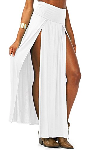 AvaCostume Womens High Waist Double Slit Solid Maxi Skirt, White