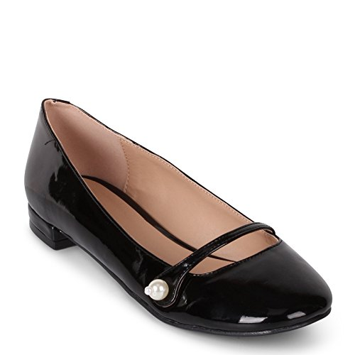 "Wanted ""Mari�?Mary Jane Flat with Pearl Button Black Patent"
