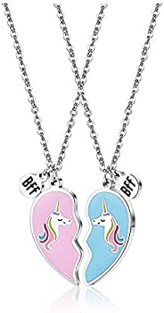 Unicorn BFF Best Friend Necklaces for 2/3 Girls,Sister Friendship Pendant Necklace Jewelry Christmas Birthday