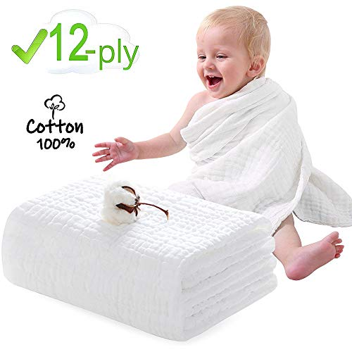 Muslin Baby Towels, FUNCUBE 12 Layer Baby Bath Towel Super Soft Fluffy Breathable - Rapid Water Absorbent Newborn Cotton Baby Blanket Great for Babys Allergic Skin - 47 X 47 Inches (Pure White)