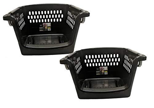 Starplast Large Stacking Storage Baskets - Black, 2 Pack