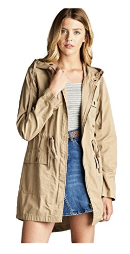 Tabeez Women's Military Safari Anorak Zip-Up Hoodie Khaki Parka w/ Drawstring...