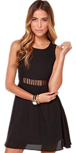 Sexy Sleeveless Ladder Cutout Front Caged Web A Line Mini Chiffon Dress Black M (Chiffon Overlay Dress)