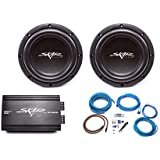 Skar Audio 2x VVX-8v3 D2 800 Watt Subwoofers with RP-800.1D Monoblock Sub Amplifier and 4 Gauge Amp Kit
