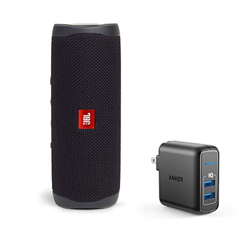 JBL Flip 5 Waterproof Portable Wireless Bluetooth Speaker Bundle with 2-Port USB Wall Charger - Black (Jbl Flip Ii Wireless Portable Stereo Speaker)
