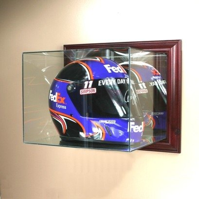 Perfect Auto Racing Helmet Glass Display Case Wall Mounte...