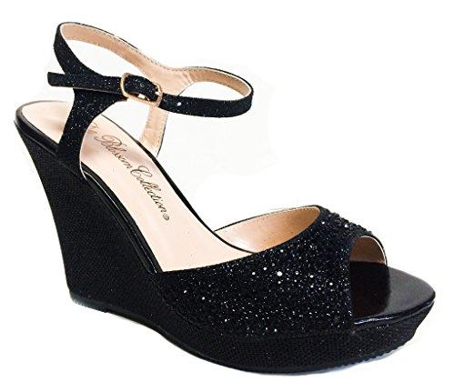 Fiore Lin-161 Lo Adoro! Sandalo Sexy Strappy Glitter Con Tacco A Spillo Sul Plateau Con Zeppa Nero Zeppa - Tacco 4 Pollici