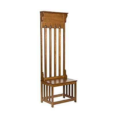 """HE4080 SEI Mission Hall Tree Bench - 24"""" W x 18"""" D x 72.5"""" H Seat - 17"""" D x 18"""" H Mission Oak Finish - hall-trees, entryway-furniture-decor, entryway-laundry-room - 41Esc%2BEV3CL. SS400  -"""