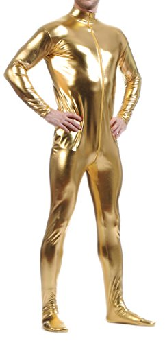 Seeksmile Unisex Metallic Lycra Bodysuit Zentai without Hood (X-Large, Gold)