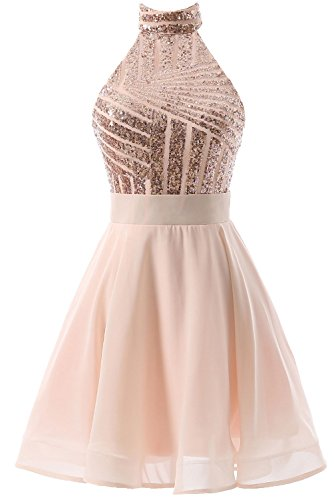 DYS Women's Short Halter Prom Party Dress Backless Homecoming Dress for Juniors Rose Gold US 12