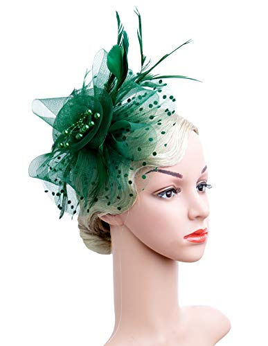 Cizoe Flower Cocktail Tea Party Headwear Feather Fascinators Top Hat for Girls and Women(1-green) ()