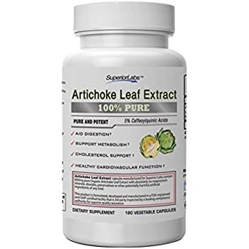 Superior Labs – Organic Artichoke Leaf Extract NonGMO Powerful 5% Caffeoylquinic Natural Dietary Supplement For Healthy Metabolism, Digestion, Antioxidant, – 600 mg Dosage – 180 Veg Caps