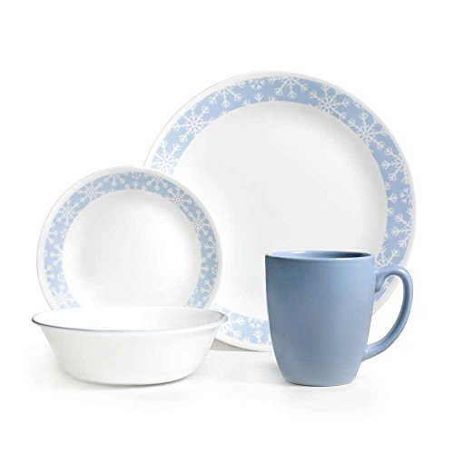 Corelle Livingware 16-Piece Dinnerware Set, Crystal Frost, Service for (Corelle Patterns)