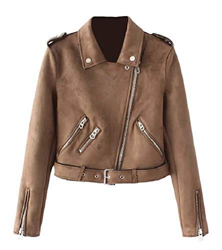 Velvet Fit MogogoWomen Coffee Long Jacket Outwear Sleeve Plus Short Zip Lapel 5wBBTCSq
