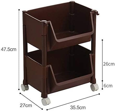 Mayl Portable Slim Plastic Rolling Laundry Utility Cart Organizer Trolley Easy Glide Wheels And 2 Heavy Duty Shelves For Laundry Utility Kitchen Pantry Color Brown Amazon Co Uk Kitchen Home