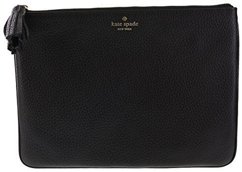 Kate Spade New York Chester Street Gia Pebbled Leather Clutch Handbag Purse (Black.)
