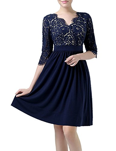 PromCC Womens V-neck Lace Cocktail Dresses Short Bridesmaid Party Gowns BD134 Navy Blue 18W