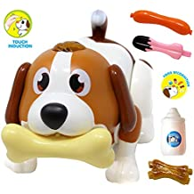 JOYIN Electronic Pet Dog, Puppy Robot, Touch Induction, Food Recognition, Interactive, Chasing, Walking, Dancing, Music, Remote Controlled and Fun Toys for Kids, Boys or Girls Birthday Gifts