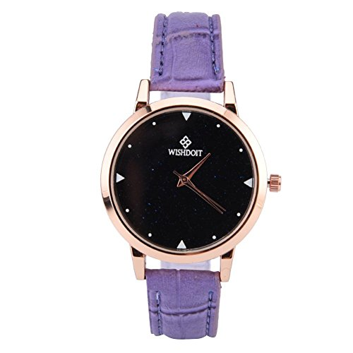 Women's Watch, Round Glittering Dial Retro Style Quartz Alloy Watch PU Leather Bracelet Accessory(Violet)