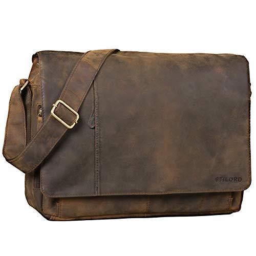 STILORD 'Elias' Ledertasche Herren Umhängetasche Unitasche Laptoptasche 15.6 Zoll Aktentasche Bürotasche Büffel Leder, Farbe:Colorado - braun