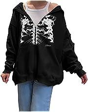 ASLBSBOXWOMEN Vrouwen Y2K Grafische Hoodie Tops Lange Mouw Zip Up Sweatshirt met Pocket Vintage Esthetische Trui Jas 90s Streetwear, Zwart, S