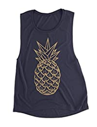 SPORSET Women Summer Pineapple Graphic Funny Tank Tops Casual Cami Shirt Blouse