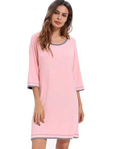 Women's Nightgown GYS Soft Bamboo Viscose Sleepwear 3/4 Sleeve (3/4 Sleeve Nightshirt)