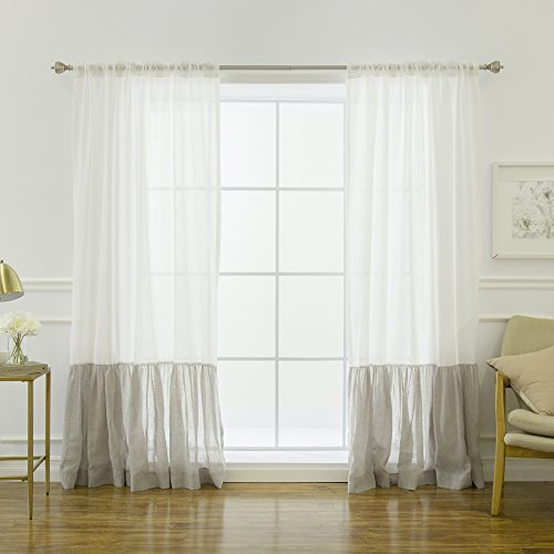 - Best Home Fashion Linen Look Ruffle Block Curtains - Backtab/Rod Pocket - White/Grey - 52