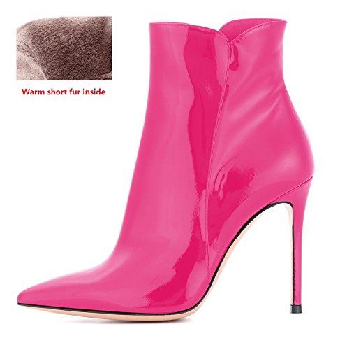 EDEFS Damen Ankle Boots,Stiefeletten mit Absatz in Schwarz,High Heel Winter Stiefel Rose