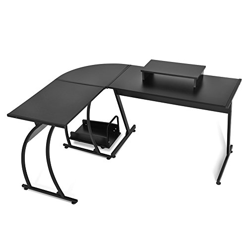 L-Shaped Office Computer Desk Large Corner Table PC Laptop Study Workstation with Monitor Stand and CPU Stand Black by Exblue