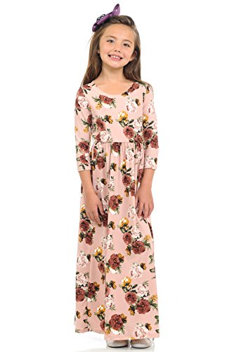 Girls Pink Jersey Dress - Pastel by Vivienne Honey Vanilla Girls' Fit and Flare Maxi Dress Large 9-10 Years Floral Blush Rose