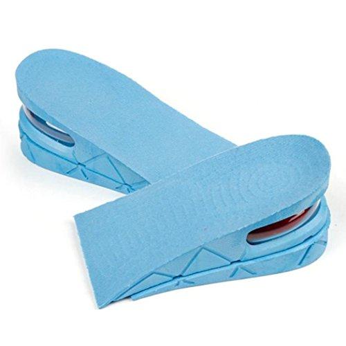 Euone Mannen Vrouwen Schoen Binnenzool Luchtkussen Hiel Invoegen Verhogen Groter Hoogte Lift 5cm / 2inch Blauw