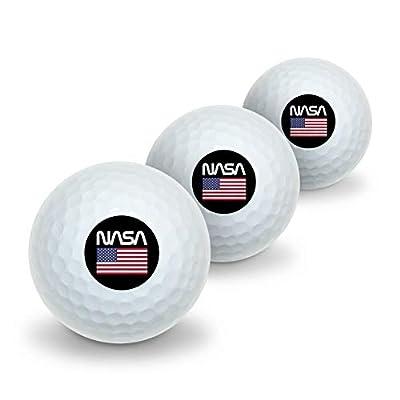 GRAPHICS & MORE NASA Official Worm Logo United States USA Flag Novelty Golf Balls 3 Pack
