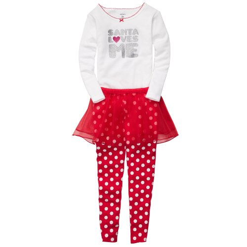 Carter's Girls' 3 Pc L/S Holiday Dress Up Set - Santa Loves Me - 2T