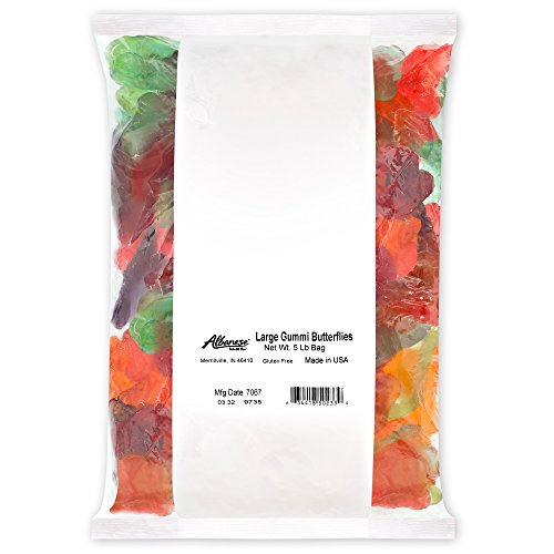 Albanese Candy, Large Assorted Fruit Gummi Butterflies, 5 Pound Bag