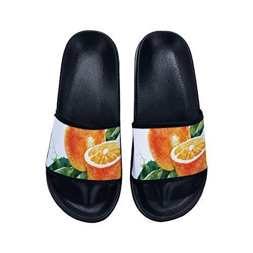 Mesllings Oranges Juicy Print Women Sandal Slippers Causal Fashion Simple Nonslip Flip Flops Sandals Shoes