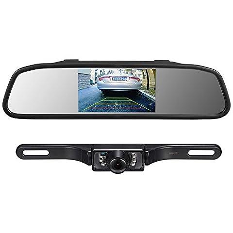 Backup camera and rearview mirror LCD monitor kit,Car License Plate Waterproof Night Vision Rear-view HD Car Reverse Rearview Camera + 4.3
