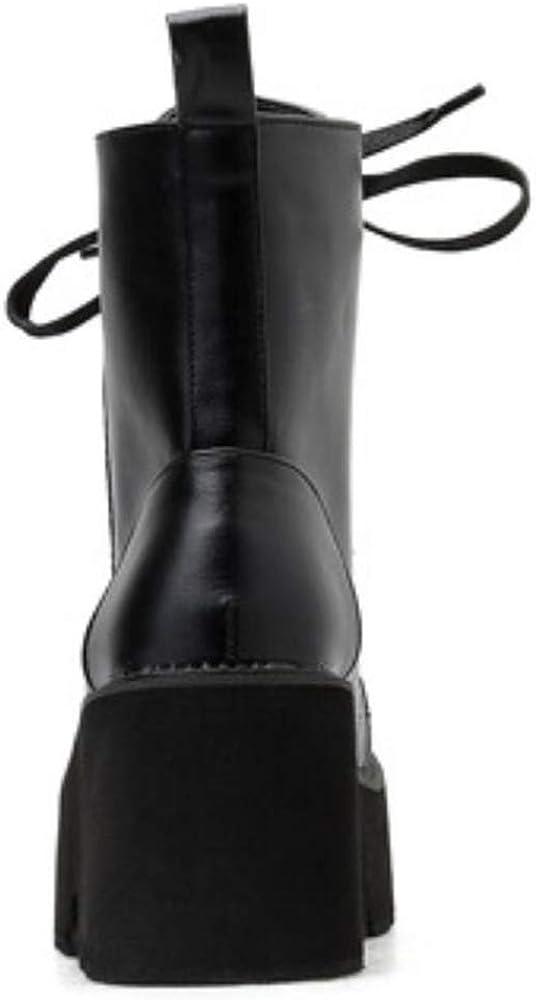 Gracemee Stylish Mujer Combat Boots Tobillo Cremallera Motorcycle Boots 20 Negro DSMfK