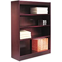 Alera BCS44836MY Square Corner Wood Veneer Bookcase, Four-Shelf, 35-5/8 X 11-3/4 X 48, Mahogany