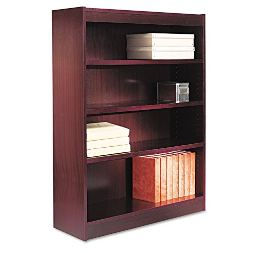 (Alera BCS44836MY Square Corner Wood Veneer Bookcase, Four-Shelf, 35-5/8 X 11-3/4 X 48, Mahogany)
