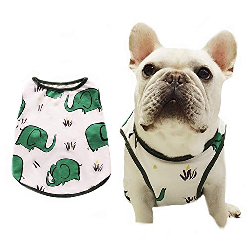 Stock Show Pet Dog Summer Vest, Cute Teddy French Bulldog Dog 100% Cotton Fashion T-Shirt Breathable Sleeveless Summer Dog Clothes for Small Medium Dog (Back Lenght - 35CM/13.8