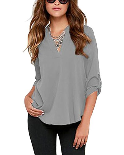 Face N Face Women's Summer V Neck Solid Loose Casual Cuffed Long Sleeve Women Blouses