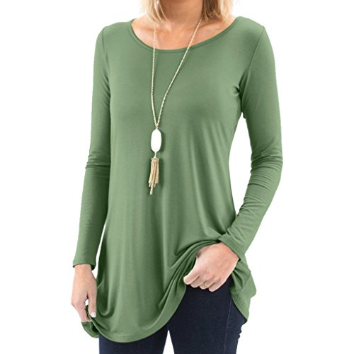 Bella Women's Long Sleeve Boatneck Tunic with Symmetrical Hem - Super Soft Loose Fit T-Shirt Tunic Top, Perfect Casual Blouse for Leggings & Jeans - Medium - Army Green