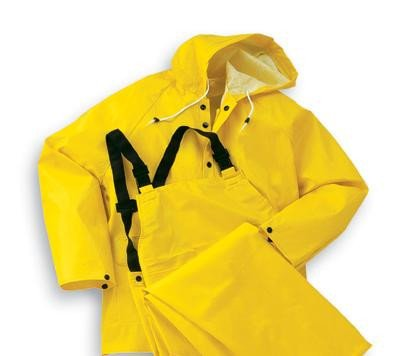 Onguard Industries Large Yellow Webtex .6500 mm PVC And Non-Woven Polyester 3 Piece Rain Suit (Includes Jacket With Front Snap Closure, Detached Hood And Bib Pants With No Fly)