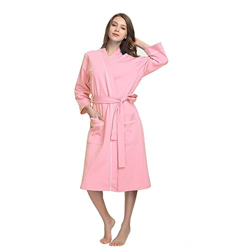 (M&M Mymoon Womens Cotton Robe Soft Breathable Kimono Robes Knit Bathrobe Loungewear Short Sleepwear (Pink, XL))
