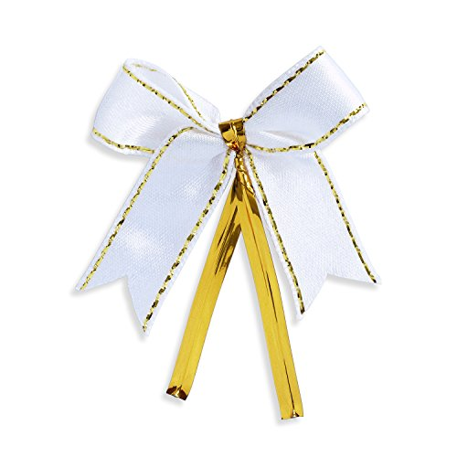 Ribbon Bows with Twist Ties (100 Pieces) - Medium Size: 2 Inches - Made of High Quality Satin Ribbon - Great for Bakery Bag, Cello Bag, Lollipop, Cake Pop and -