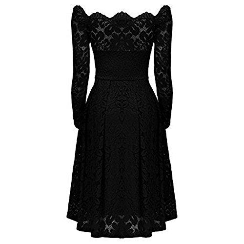 vestido de vestido coctel vestido de las fiesta de Vestido fiesta Negro de AIMEE7 hombros de manga larga elegante mujeres descubiertos vestido mujer escote vendimia la noche formal AyYxfqO