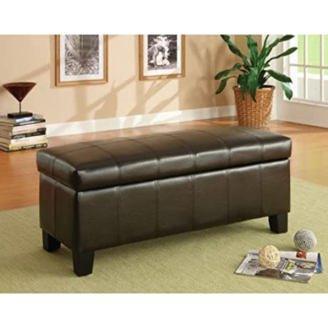 Bi Cast Vinyl Bedroom Storage Ottoman Storage Compartment 16 H X 39 W X 13 D In Legs 5 H In Dark Brown Finish
